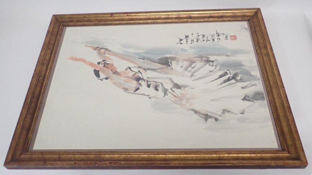 Chinese Watercolor of Ballerina, Signed - 7