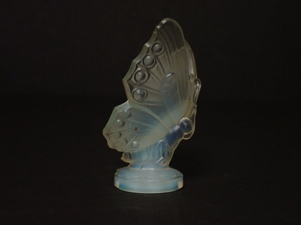 Opalescent Glass Butterfly Figurine Signed Sabino