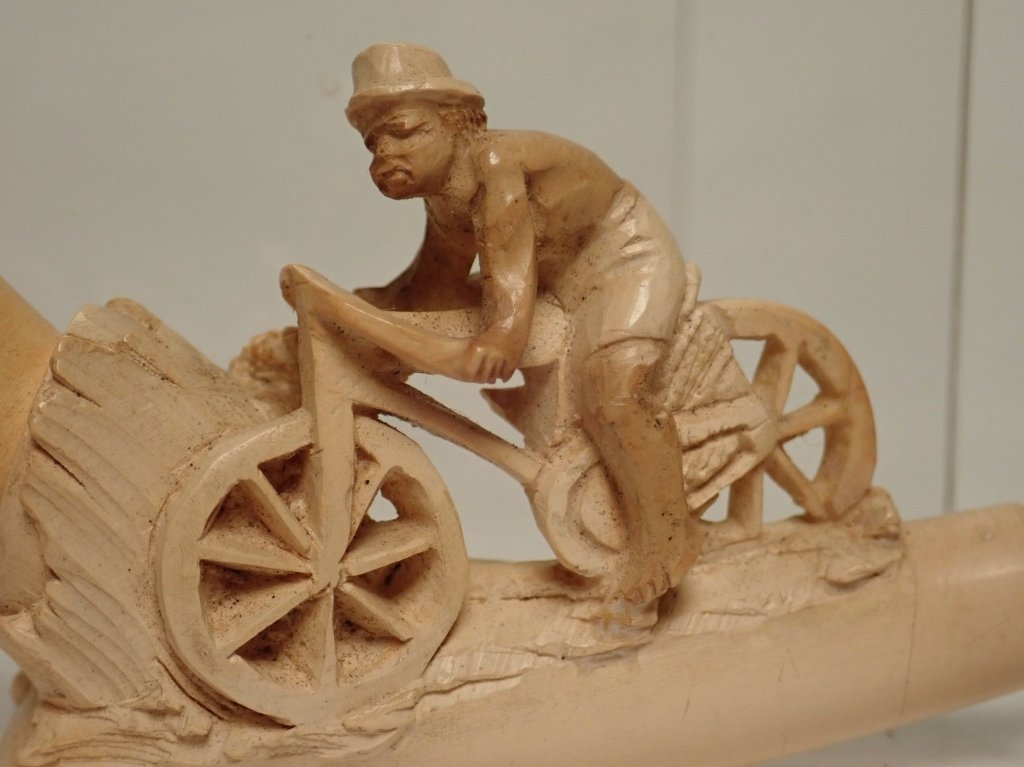 Meerschaum Pipe with Carved Man on Bicycle Design - 8