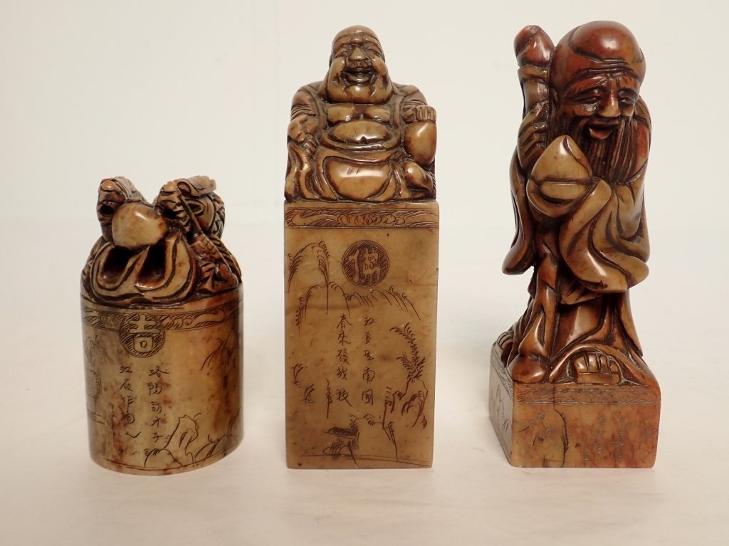 Group of Asian Carved Hardstone Figurine Statues