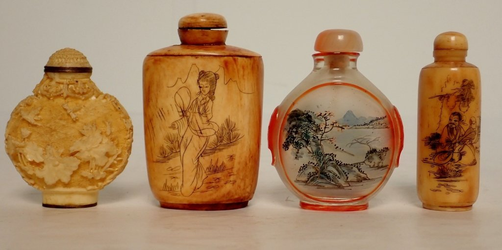 Group of Four Asian Snuff Bottles
