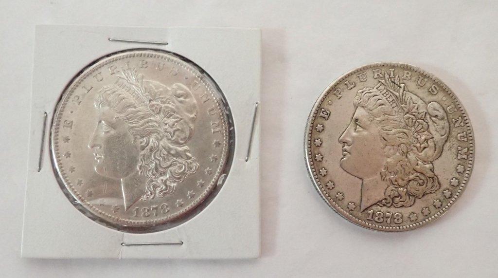 Two 1878 S $1 Morgan Silver Dollar Coins