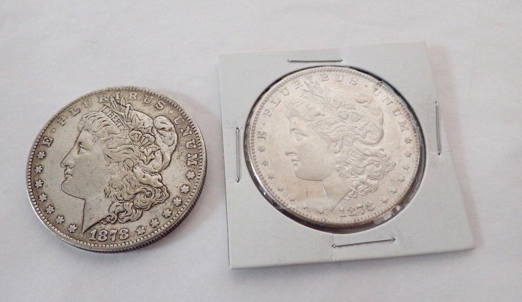 Two 1878 S $1 Morgan Silver Dollar Coins - 8