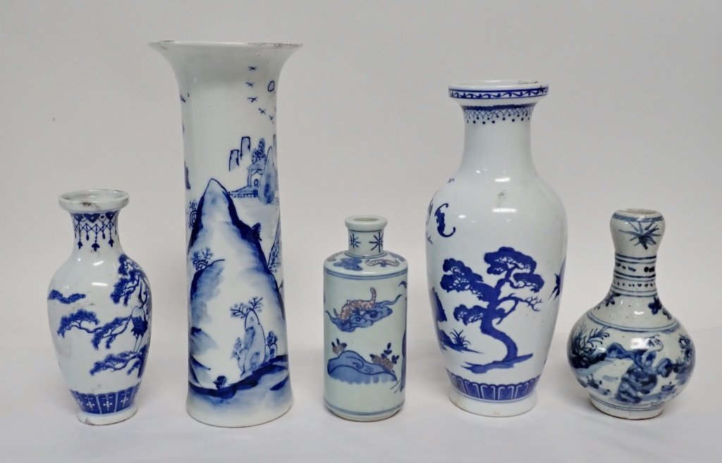 Blue & White Asian Vase Assortment - 2