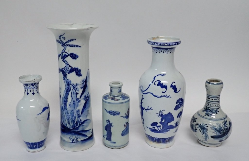 Blue & White Asian Vase Assortment - 3