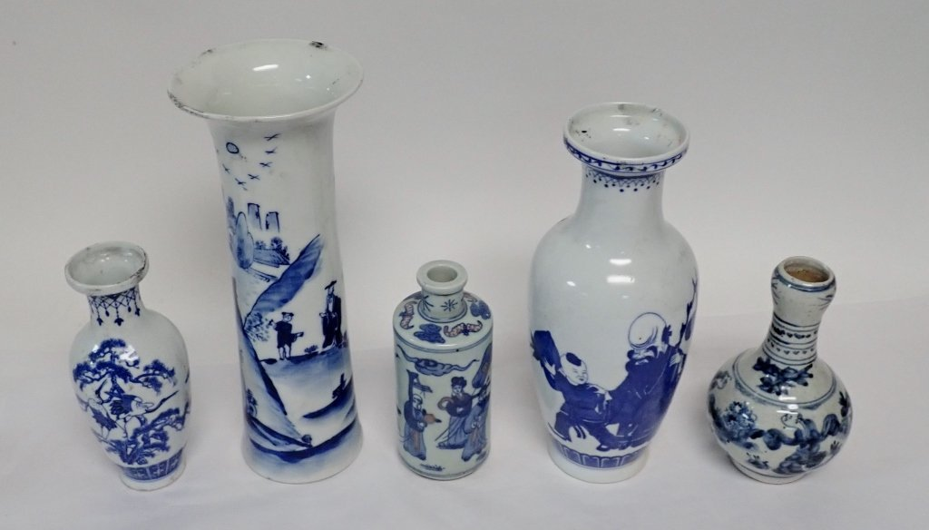 Blue & White Asian Vase Assortment - 4