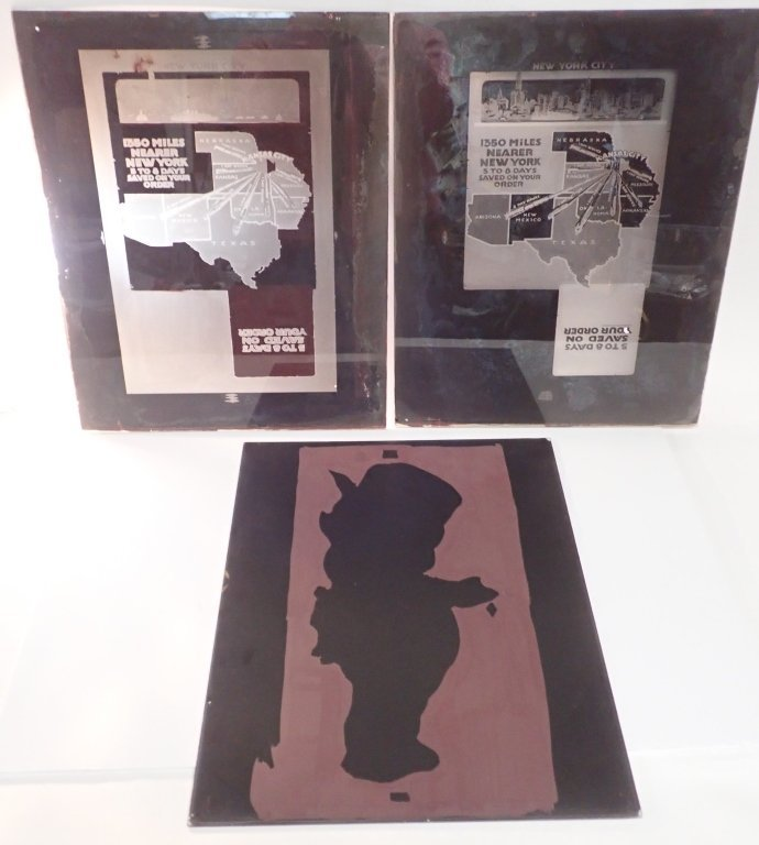 3 Vintage Plate Glass Advertising Negatives