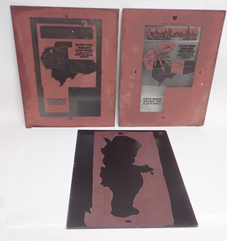 3 Vintage Plate Glass Advertising Negatives - 2