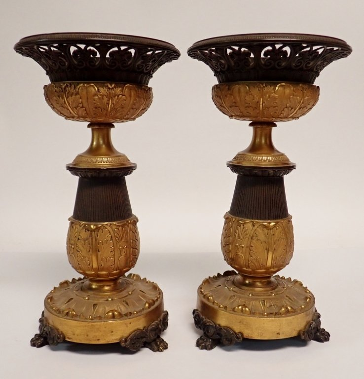 Pair of French Charles X Gilted Bronze Garnitures