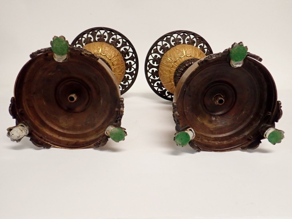 Pair of French Charles X Gilted Bronze Garnitures - 5