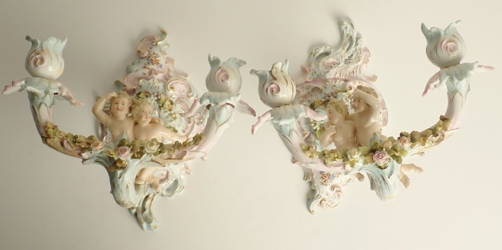 Pair of Dresden Figural Cherub Porcelain Sconces
