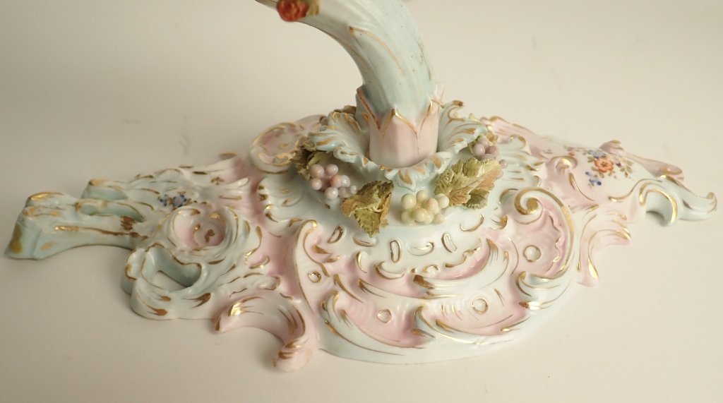 Pair of Dresden Figural Cherub Porcelain Sconces - 6