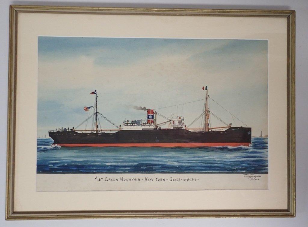 Giovanni Luzzo  (19/20th century) Ship Watercolor