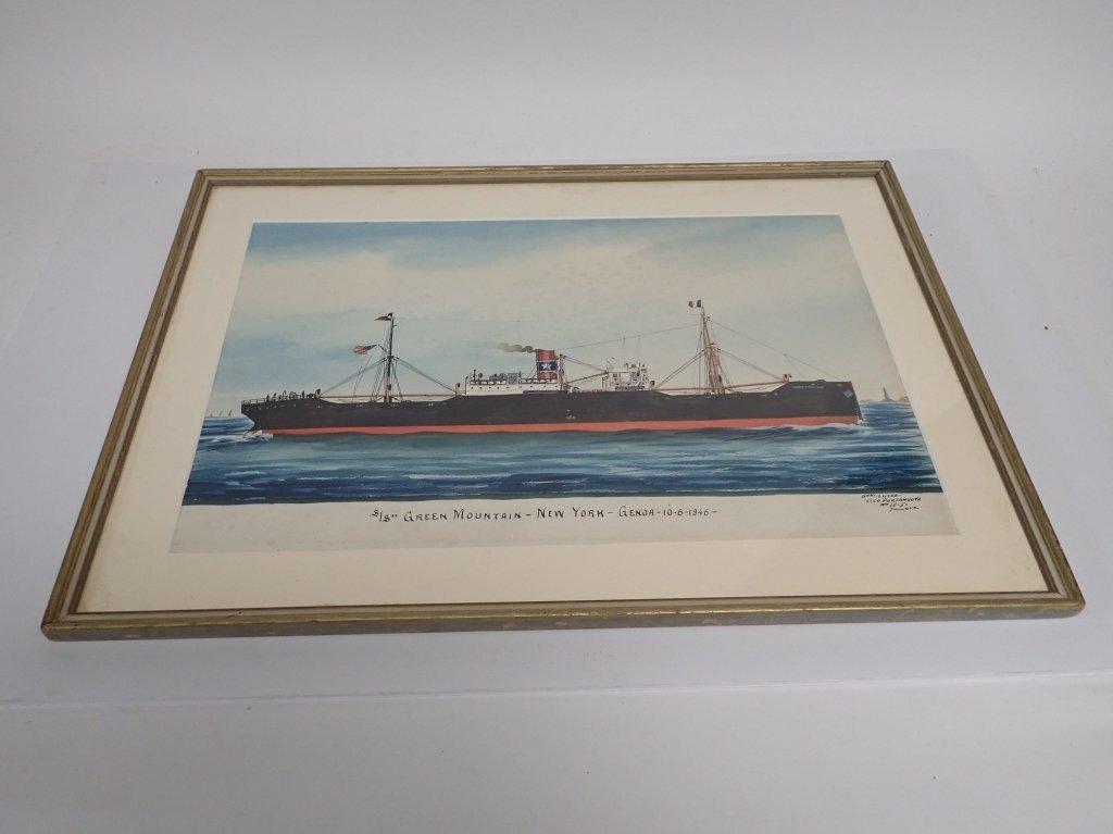 Giovanni Luzzo  (19/20th century) Ship Watercolor - 2