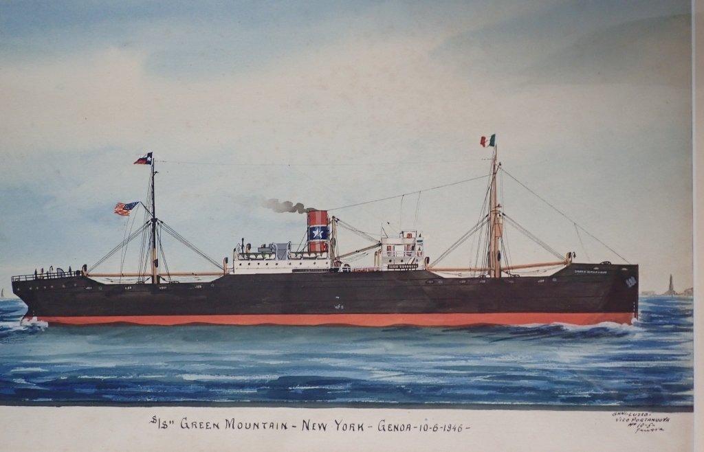Giovanni Luzzo  (19/20th century) Ship Watercolor - 3