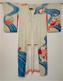 Vintage White Kimono with Floral Fan Motif