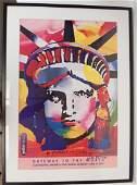 "Signed Peter Max ""Liberty Head"" Art Poster"