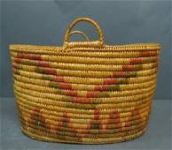 Native American Polychrome Oval Handled Basket
