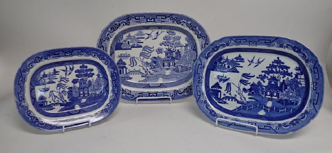 Porcelain Blue Willow Platter Assortment