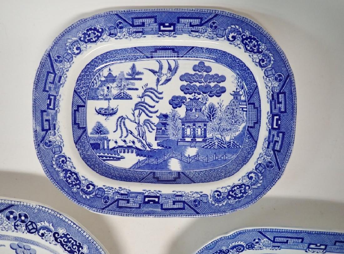 Porcelain Blue Willow Platter Assortment - 4