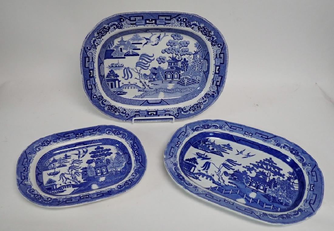 Porcelain Blue Willow Platter Assortment - 5