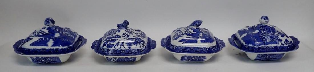 Collection of Blue Willow Covered Dishes - 2