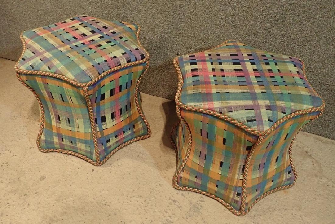Pair of Hexagonal Multi-Colored Ottomans - 10