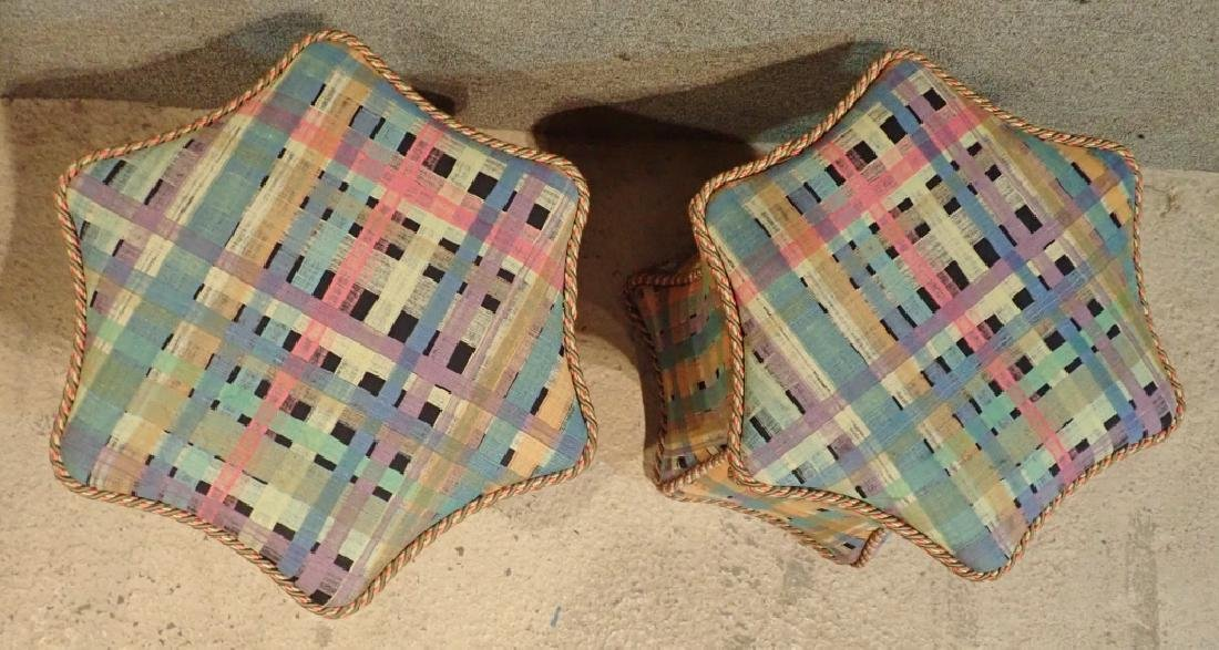 Pair of Hexagonal Multi-Colored Ottomans - 4