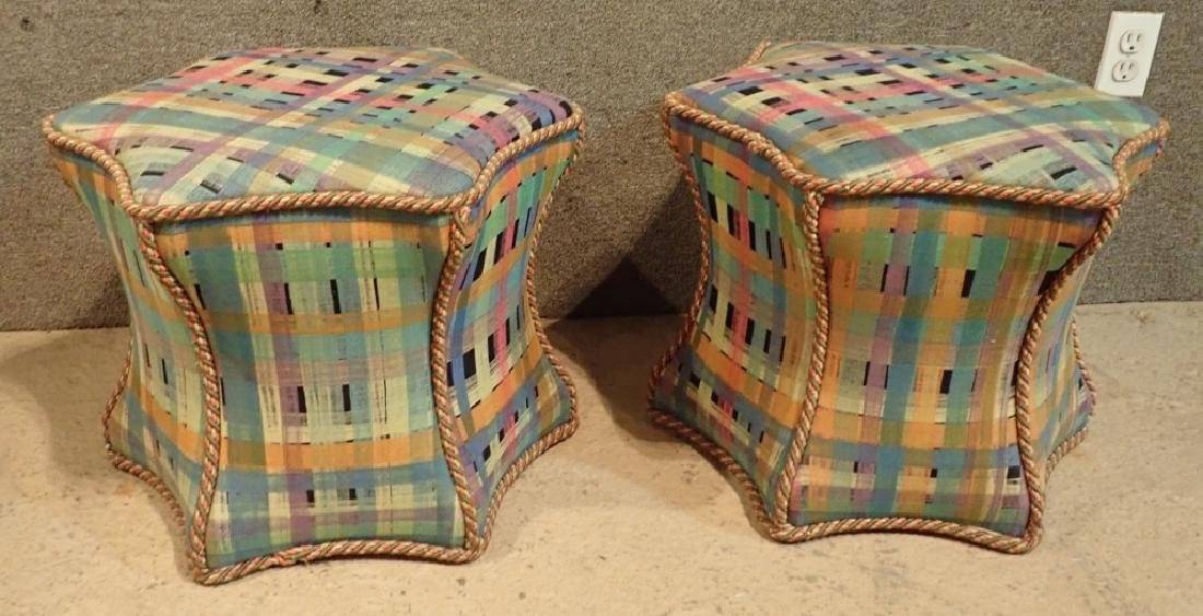 Pair of Hexagonal Multi-Colored Ottomans - 5