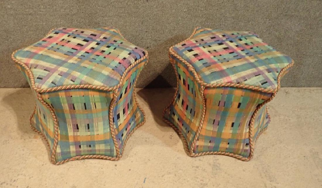 Pair of Hexagonal Multi-Colored Ottomans - 9