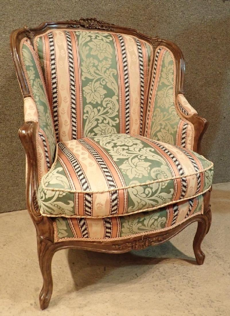 Carved Wood Frame Upholstered Wingback Chair