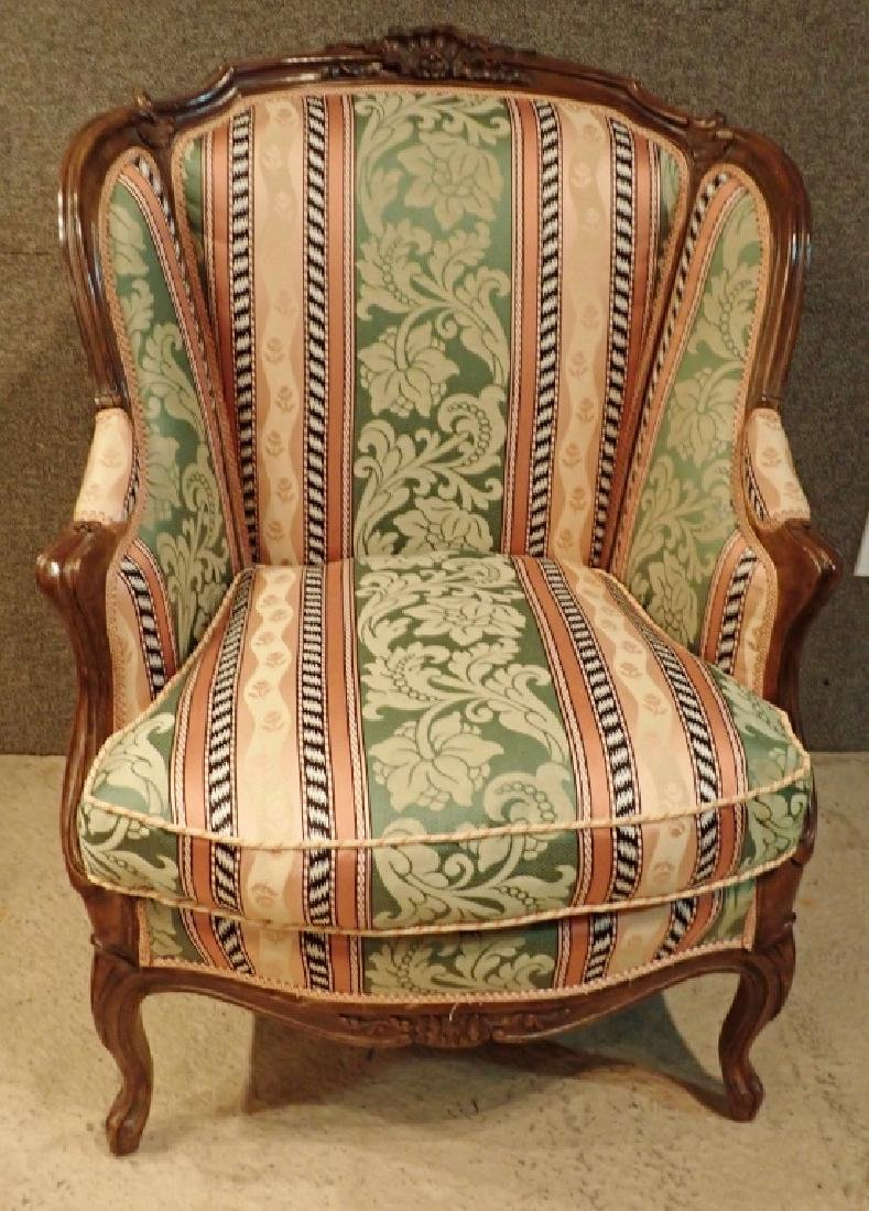 Carved Wood Frame Upholstered Wingback Chair - 2