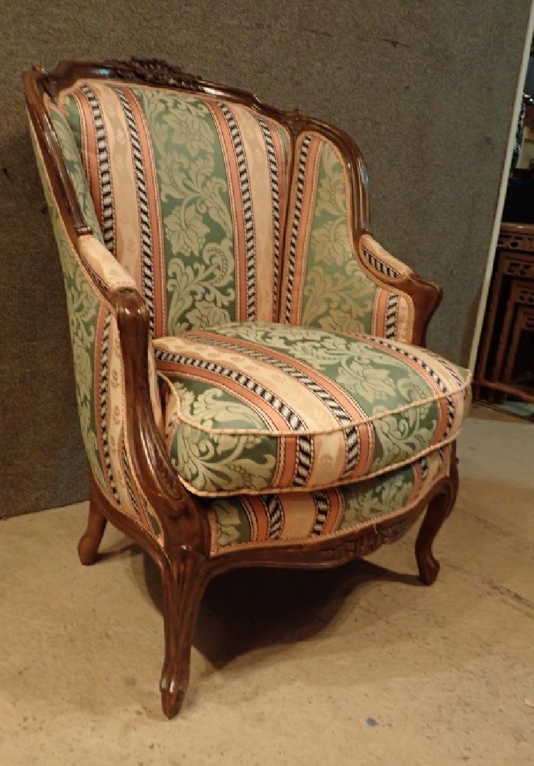 Carved Wood Frame Upholstered Wingback Chair - 3
