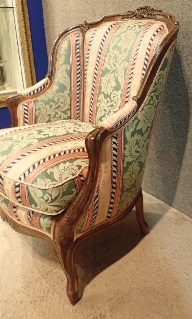 Carved Wood Frame Upholstered Wingback Chair - 4