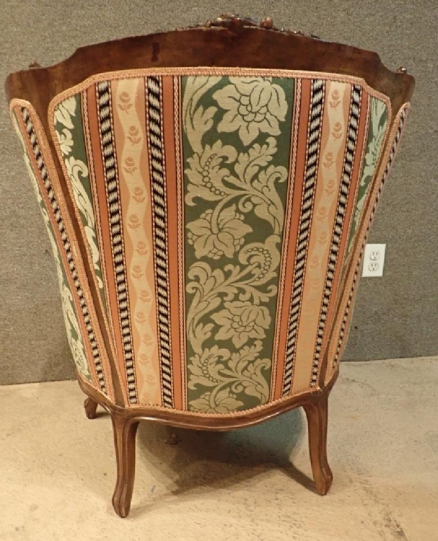 Carved Wood Frame Upholstered Wingback Chair - 5