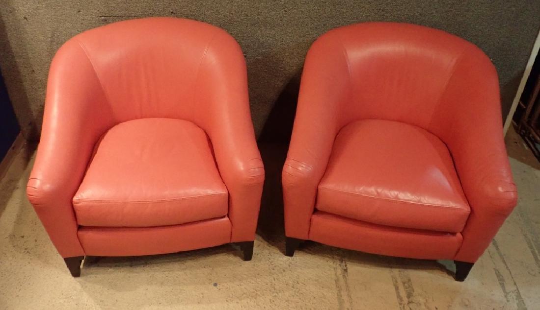 Designer Leather Club Chair Pair