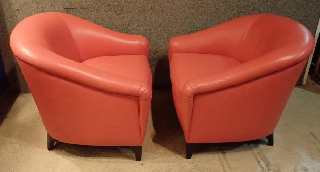 Designer Leather Club Chair Pair - 2