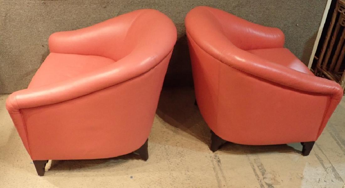 Designer Leather Club Chair Pair - 3