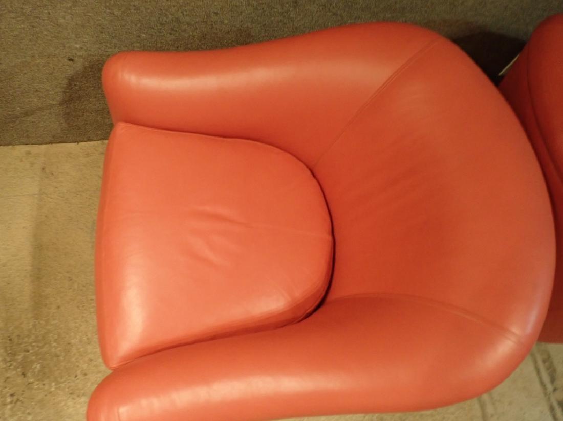 Designer Leather Club Chair Pair - 5