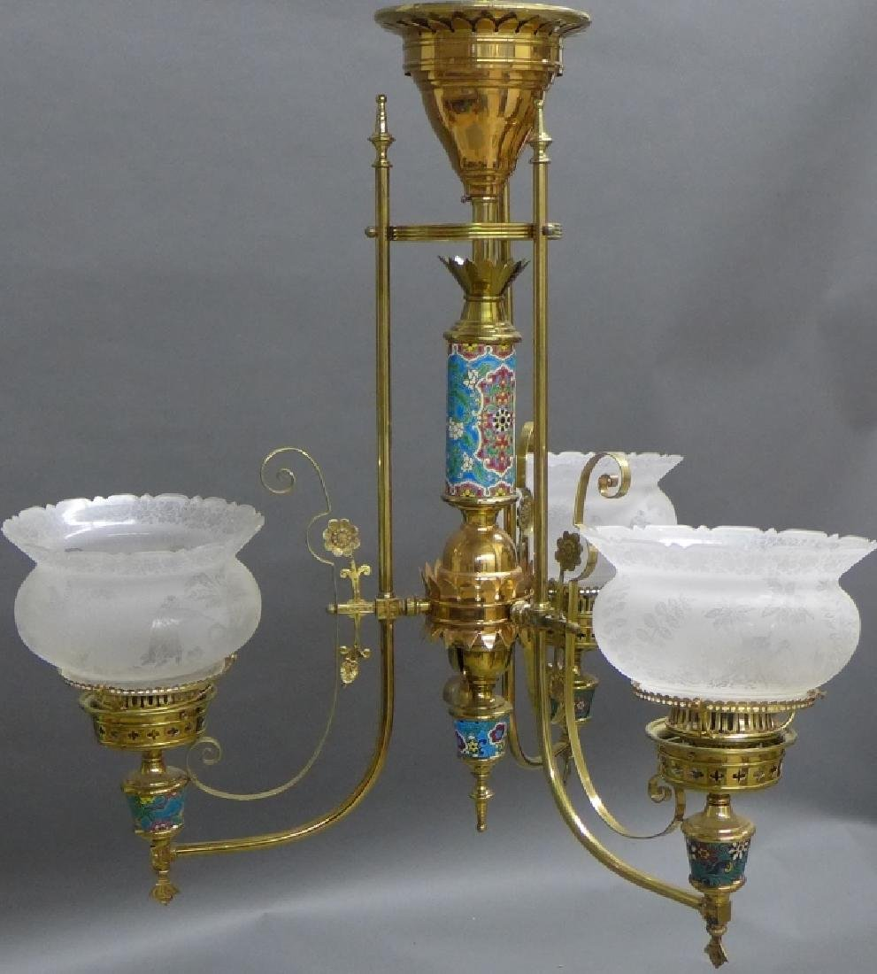 Victorian Aesthetic Longwy and Brass Chandelier