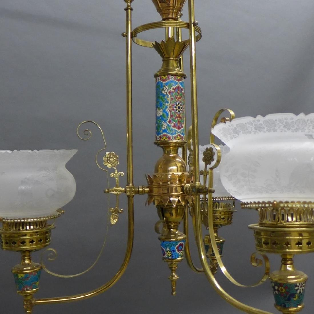 Victorian Aesthetic Longwy and Brass Chandelier - 2