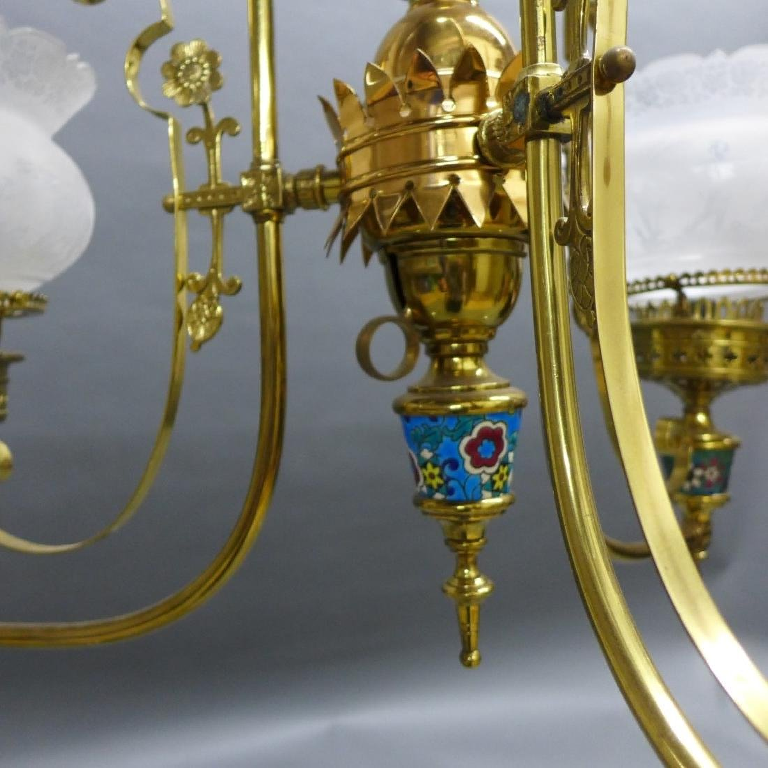 Victorian Aesthetic Longwy and Brass Chandelier - 4
