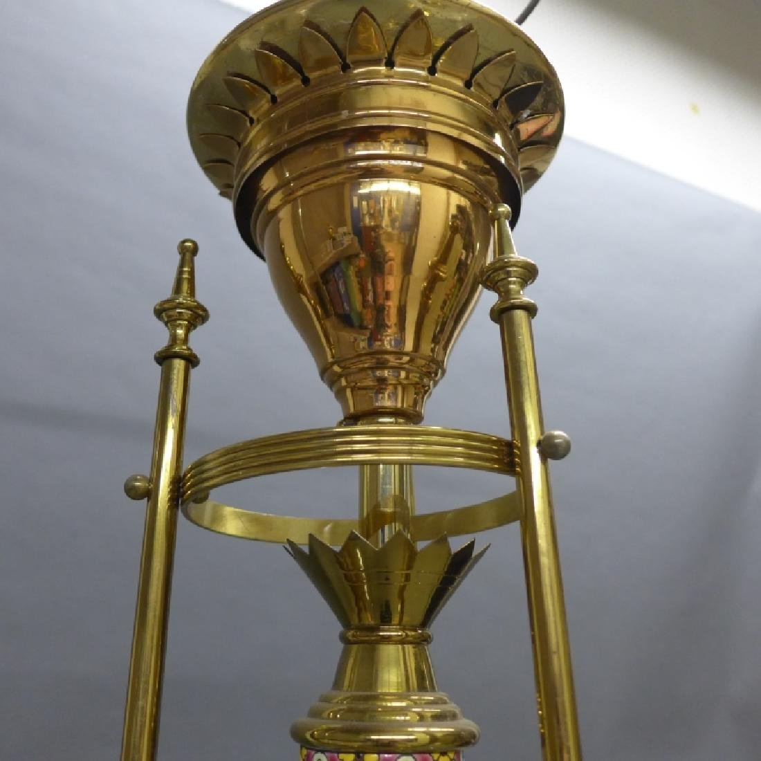 Victorian Aesthetic Longwy and Brass Chandelier - 7