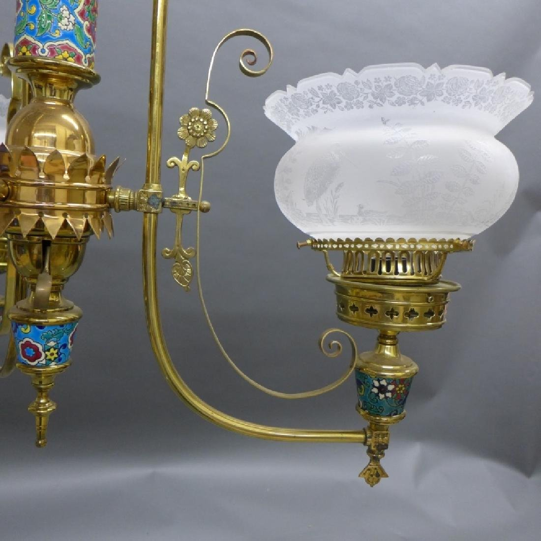 Victorian Aesthetic Longwy and Brass Chandelier - 8