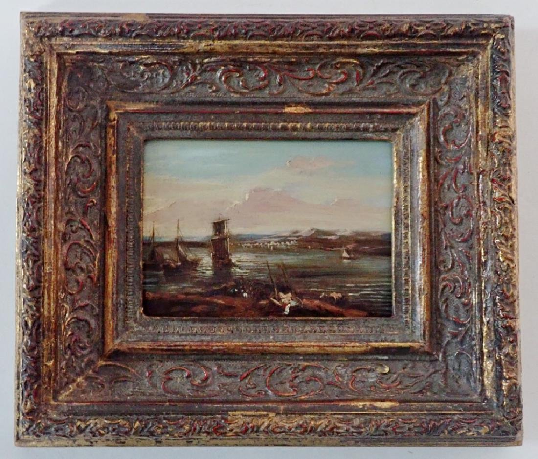 Continental Harbor Scene Oil Painting