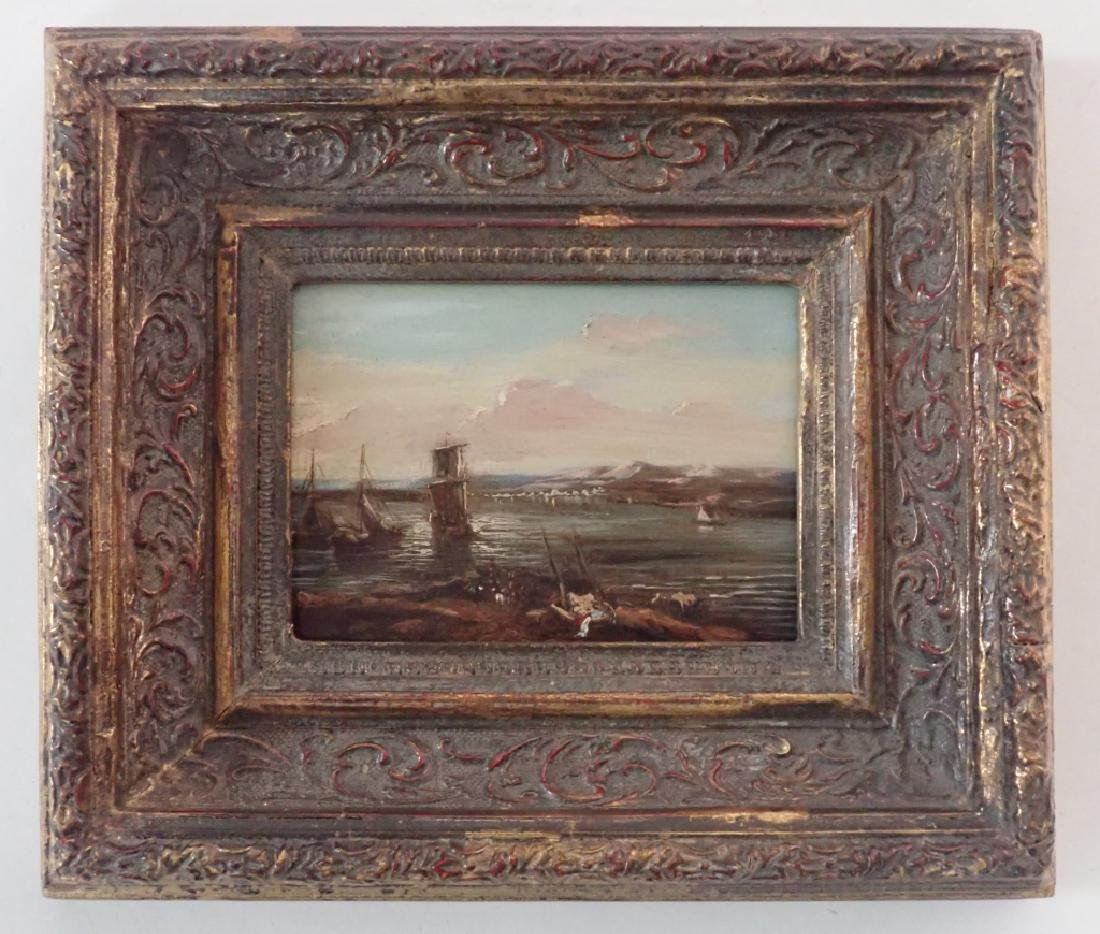 Continental Harbor Scene Oil Painting - 7