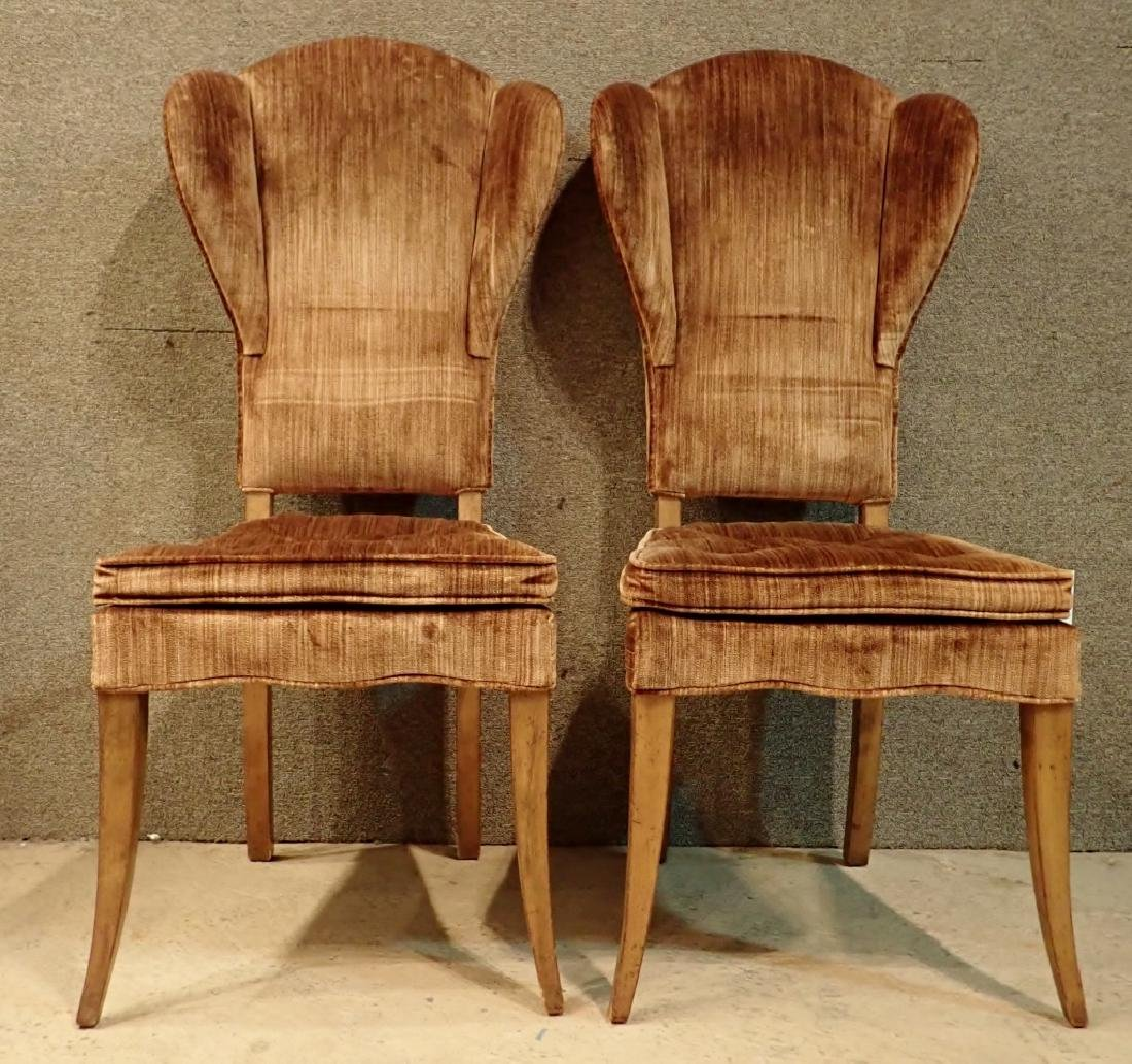 Pair of Velvet Upholstered Wooden Chairs