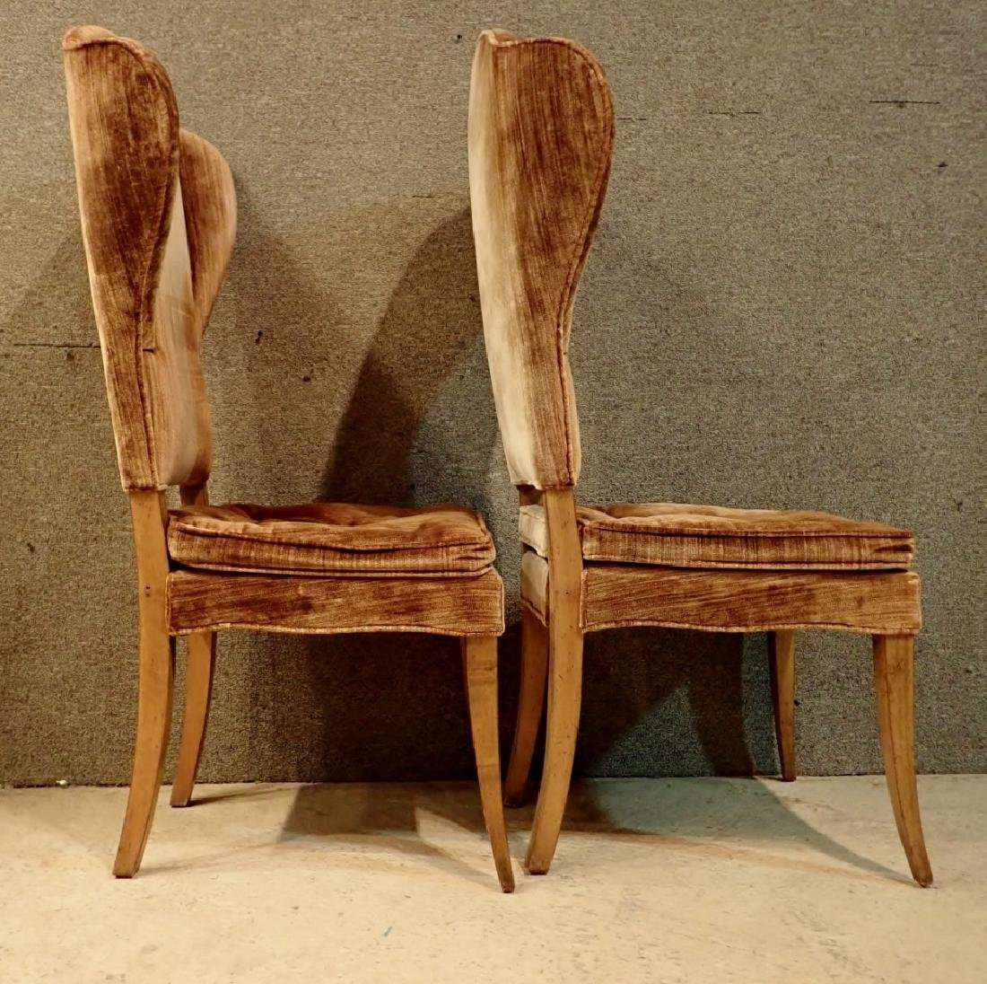 Pair of Velvet Upholstered Wooden Chairs - 2