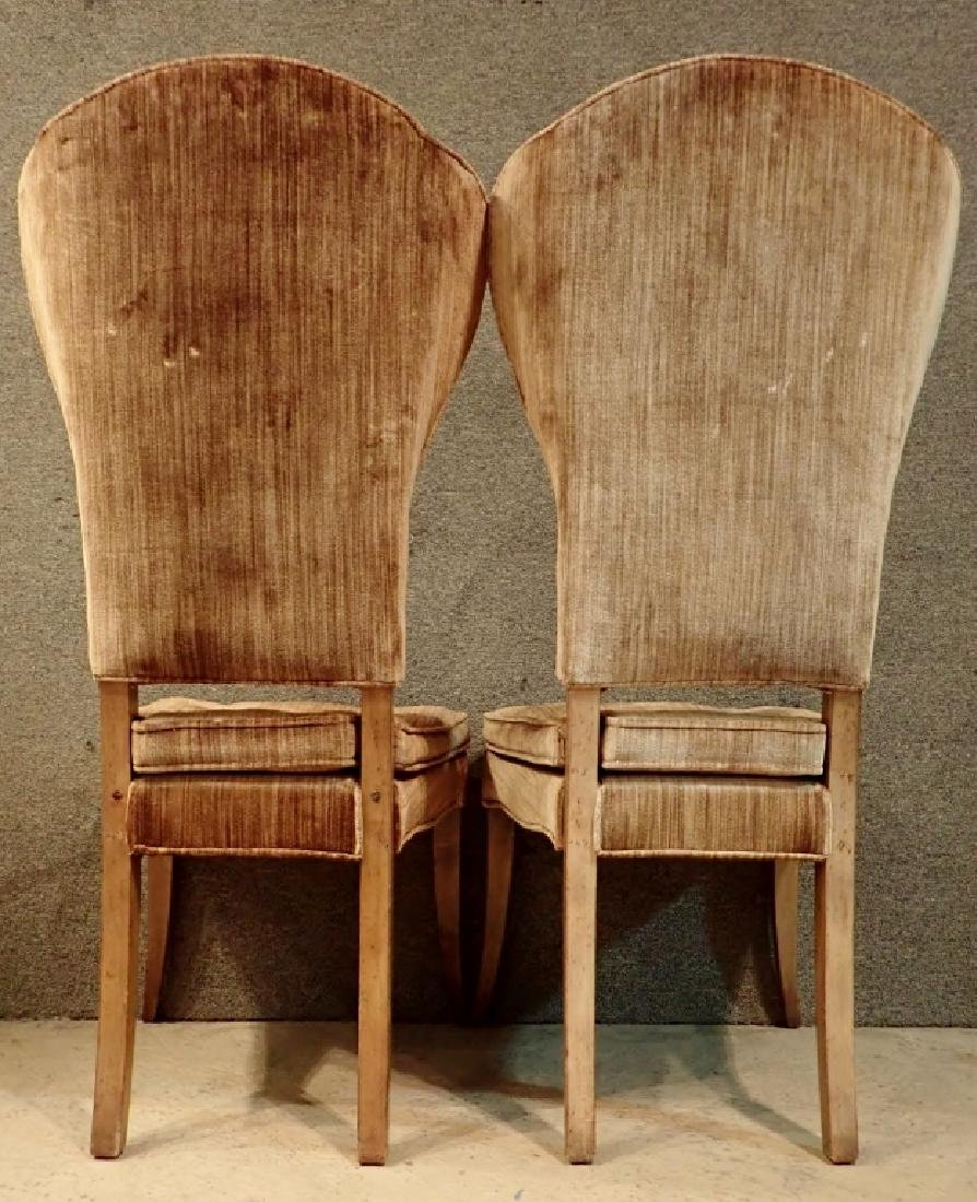 Pair of Velvet Upholstered Wooden Chairs - 3