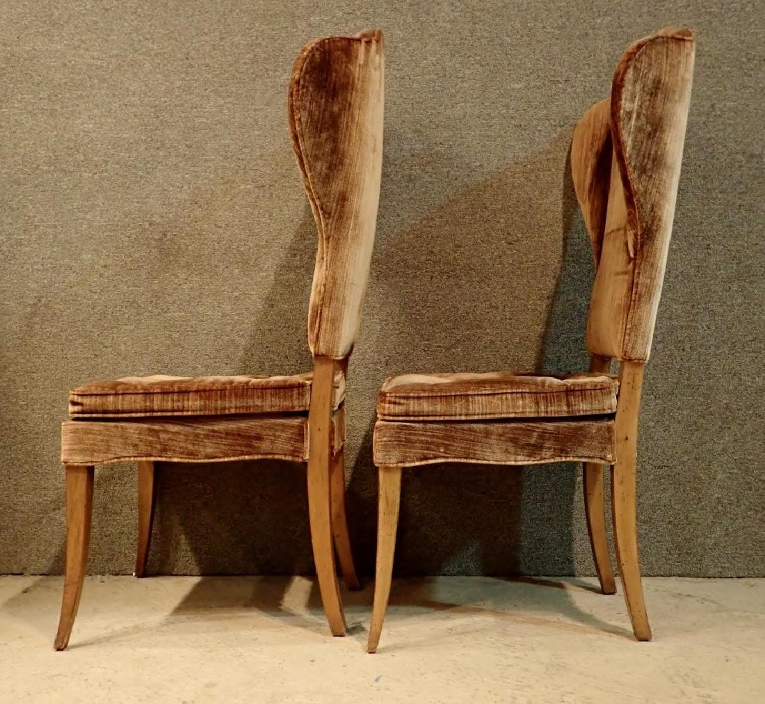Pair of Velvet Upholstered Wooden Chairs - 4